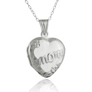 Heart-shaped Mom Locket Necklace - 925 Sterling Silver