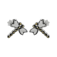 Marcasite Dragonfly Stud Earrings - 925 Sterling Silver