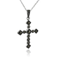 Marcasite Cross Pendant Necklace - 925 Sterling Silver
