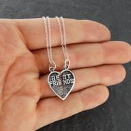 Sterling Silver Best Friends Break Apart Heart Pendant Necklace Set