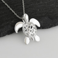 "Sterling Silver Sea Turtle with Openwork Design Shell Pendant Necklace, 18"" Chain"