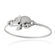 Sterling Silver Elephant Bangle Bracelet with Latch