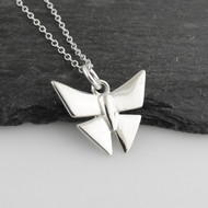 "Sterling Silver Origami Butterfly Pendant Necklace, 18"" Chain"