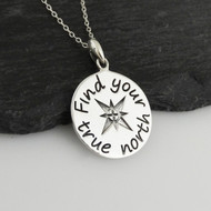Find Your True North Compass Pendant Necklace - 925 Sterling Silver