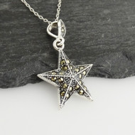 "Sterling Silver Marcasite Nautical Star Pendant Necklace, 18"" Chain"
