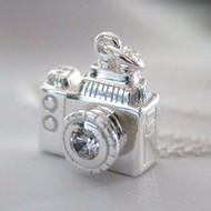 Sterling Silver 3D Camera Charm Necklace