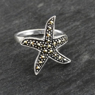 Marcasite Starfish Ring - 925 Sterling Silver