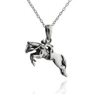 "Sterling Silver Jumping Horse and Rider Necklace, 18"" Chain"
