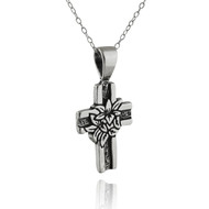 Cross with Lily Flower Necklace - 925 Sterling Silver