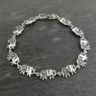 """Marcasite 7"""" Elephant Link Bracelet - Sterling Silver"""