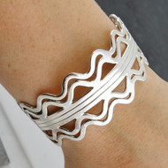 Sterling Silver Fancy Waves Cuff Bracelet
