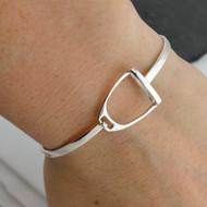 Sterling Silver Stirrup Bangle Bracelet with Latch