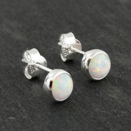 Synthetic Opal Stud Earrings - 925 Sterling Silver