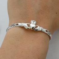 Irish Claddagh Celtic Knot Bangle Bracelet - 925 Sterling Silver