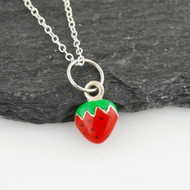 Tiny Strawberry Charm Necklace - 925 Sterling Silver, Enamel