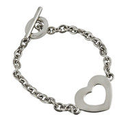 Open Heart Link Bracelet with Toggle Clasp - Sterling Silver