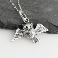Owl in Flight Necklace - 925 Sterling Silver