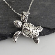 Baby Sea Turtle 3D Necklace - 925 Sterling Silver