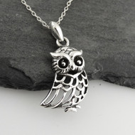 Detailed Owl Pendant - Openwork 925 Sterling Silver
