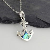Anchor Necklace - 925 Sterling Silver - Abalone Accents