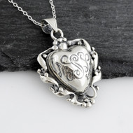 Heart-shaped Swirl Locket Necklace - 925 Sterling Silver