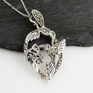 Marcasite Hummingbirds Necklace - 925 Sterling Silver