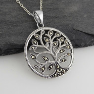 MARCASITE TREE OF LIFE NECKLACE - 925 STERLING SILVER