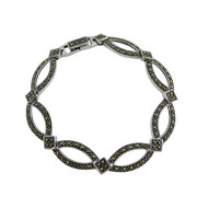"Marcasite Geometric 7"" Link Bracelet - Sterling Silver"