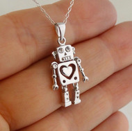 Robot Necklace with Heart - 925 Sterling Silver - CZ Eyes 3D Movable Pendant NEW