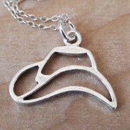 COWBOY HAT OUTLINE - Sterling Silver Charm Necklace