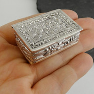 Ornate Rectangle Pill Box or Keepsake Case - 925 Sterling Silver - Jewelry NEW