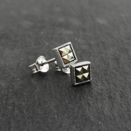 Square Marcasite Stud Earrings - 925 Sterling Silver