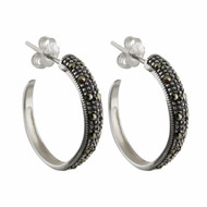 Marcasite Post Hoop Earrings - 925 Sterling Silver