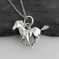 3D Galloping Horse Necklace - 925 Sterling Silver