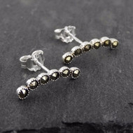 Marcasite Curved Ear Climber Earrings - 925 Sterling Silver