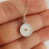 Round Mustard Seed Necklace - 925 Sterling Silver, White