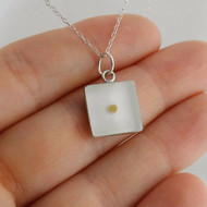 Square Mustard Seed Pendant Necklace - Clear Resin, 925 Sterling Silver