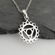 Throat Chakra Necklace - 925 Sterling Silver - Outline Pendant