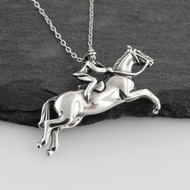 Jumping Horse and Rider Necklace - 925 Sterling Silver
