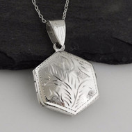 Etched Hexagon Locket Necklace - 925 Sterling Silver
