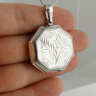 Etched Octogon Locket Large, 2 Photo - Sterling Silver