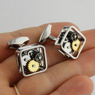 Gear Steampunk Clockwork Cuff Links, Square - Stainless Steel
