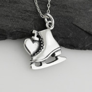 I Heart Ice Skating Charm Necklace - 925 Sterling Silver