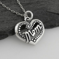 Mom Heart Necklace - Sterling Silver