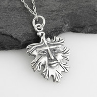 Leaf Face Necklace - 925 Sterling Silver - Charm Green Man Motif NEW