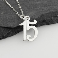 Number 15 Charm Necklace - 925 Sterling Silver - Fifteen