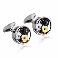 Steampunk Clockwork Cuff Links, Round - Stainless Steel