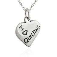I Heart Quilting Charm Necklace - 925 Sterling Silver