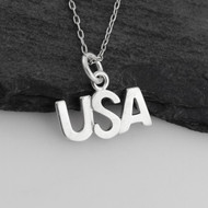 USA Charm Necklace - 925 Sterling Silver