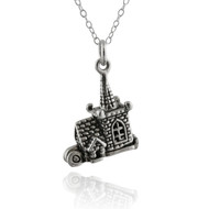 Sterling Silver Tiny Church Charm Necklace